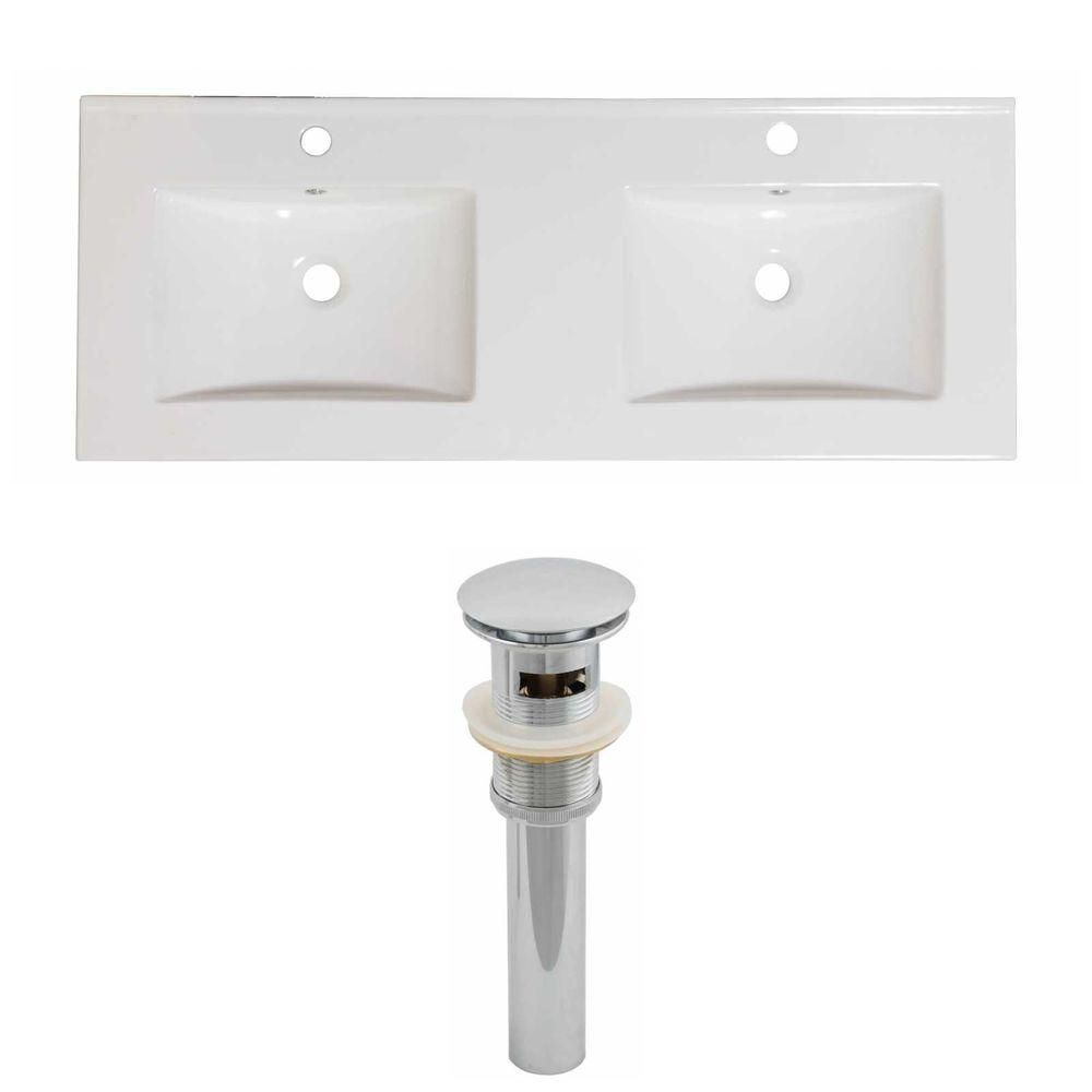 American Imaginations 60-inch W x 18 1/2-inch D Ceramic Top Set with Drain in White
