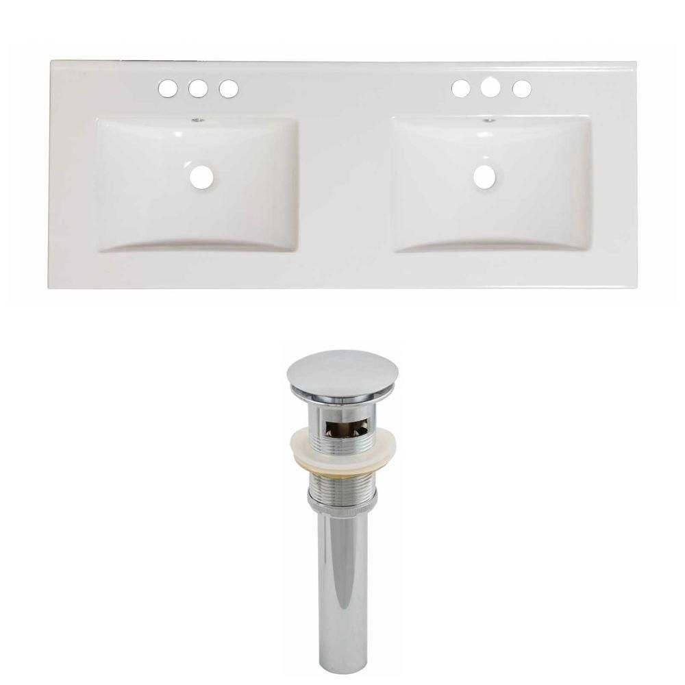 60-inch W x 18 1/2-inch D Ceramic Top Set with Drain in White