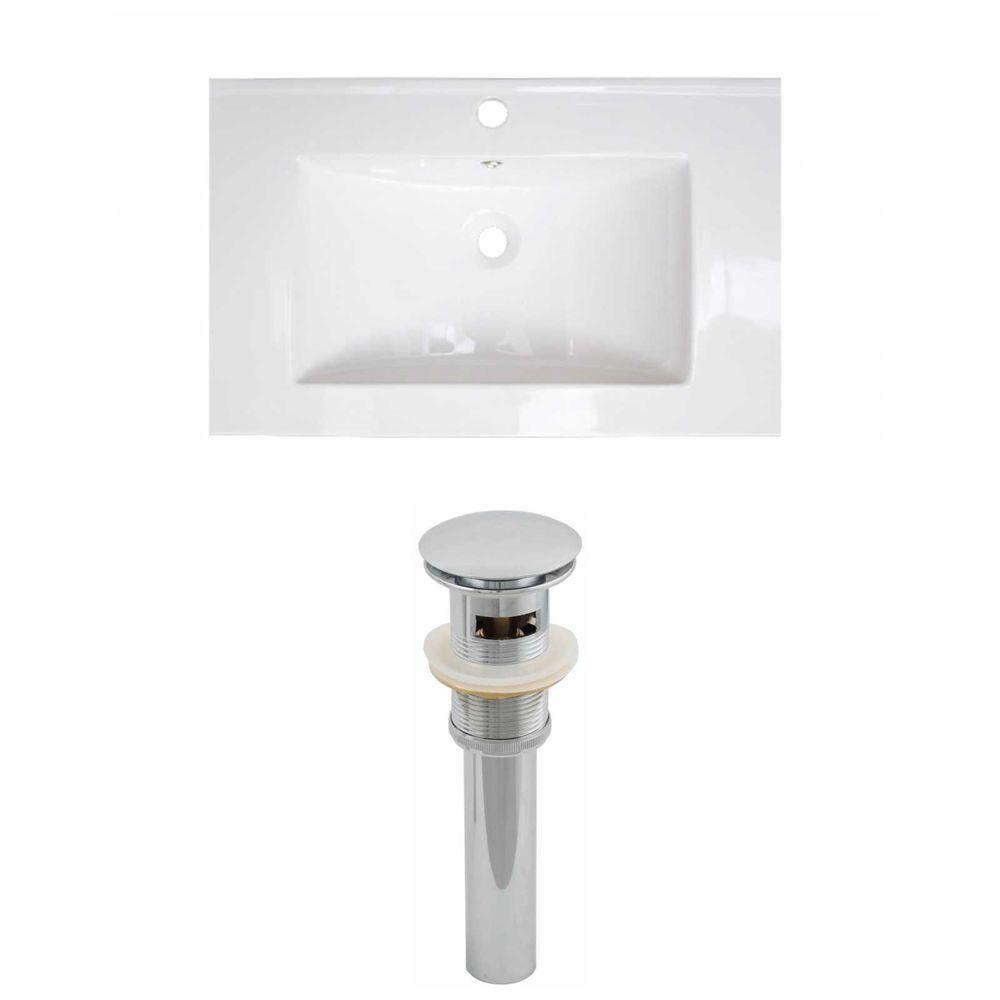 30-in. W x 18 po. D Céramique Top Set de couleur blanche et le drain