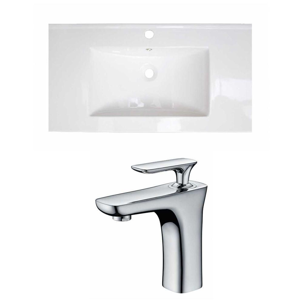 36-in. W x 20 po. D Céramique Top Set In White Couleur Avec Single Hole CUPC Robinet