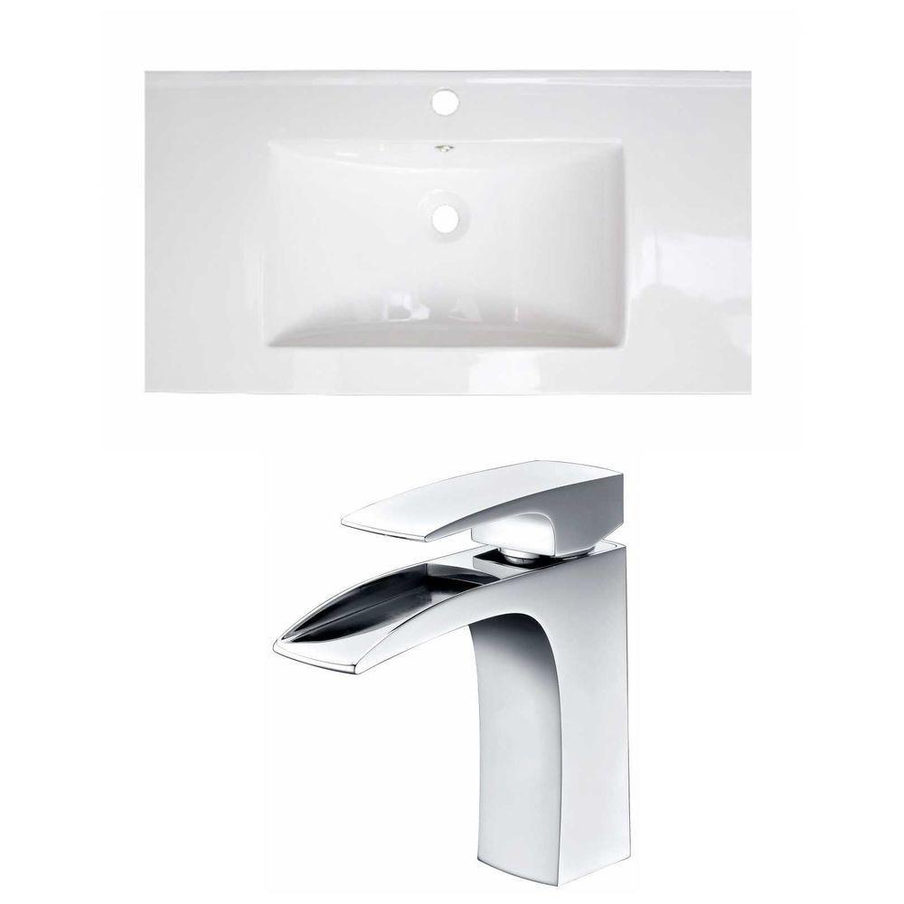36-in. W x 20 po. D Céramique Top Set In White Couleur Avec Single Hole CUPC Robinet