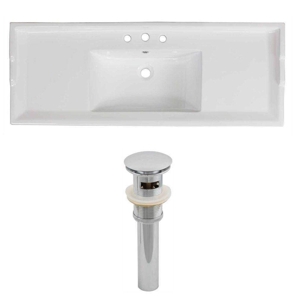 48-inch W x 18 1/2-inch D Ceramic Top Set with Drain in White