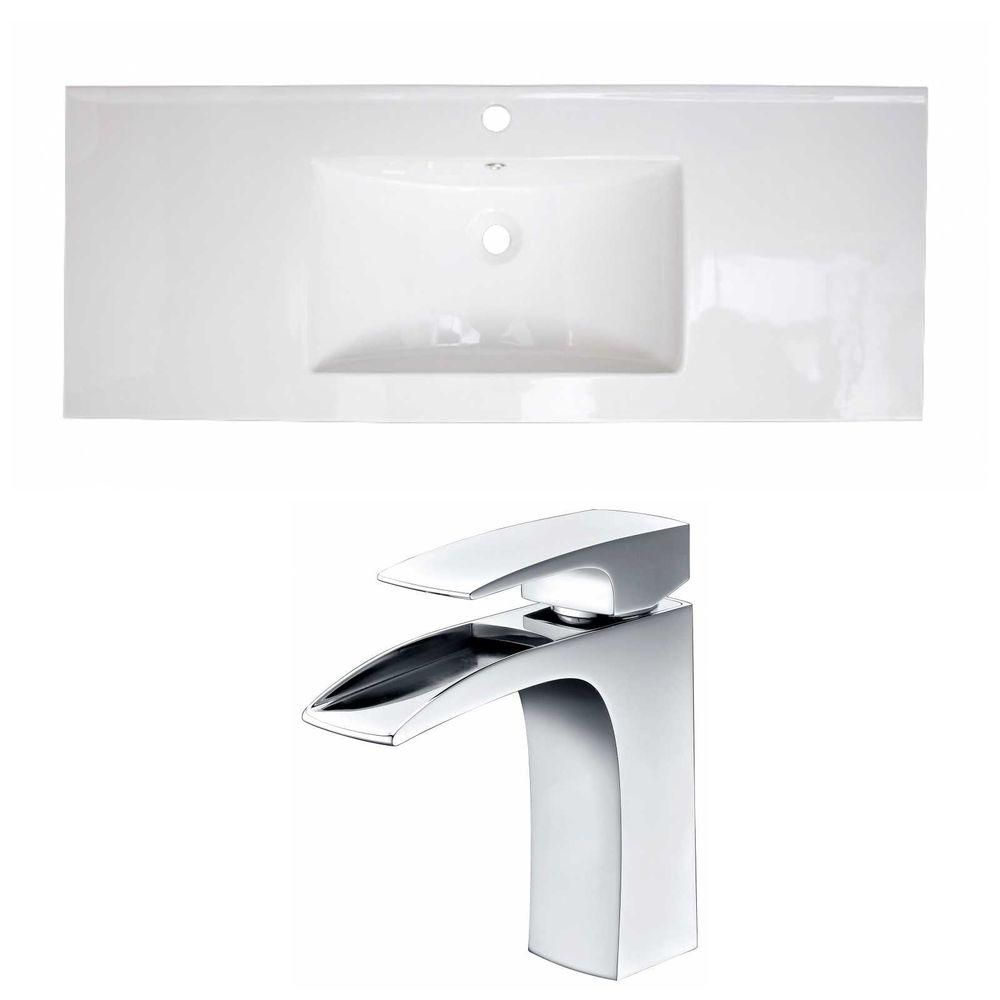48-in. W x 18 po. D Céramique Top Set In White Couleur Avec Single Hole CUPC Robinet