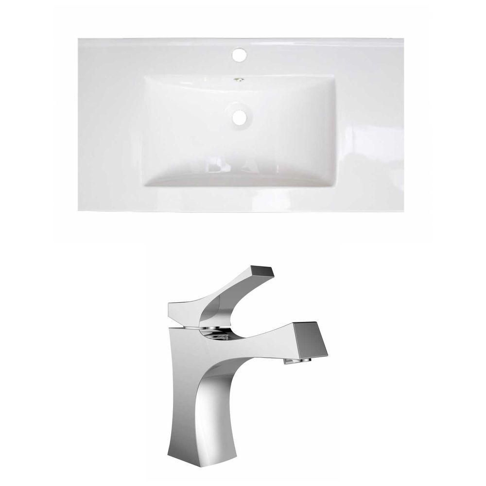 36-inch W x 20-inch D Ceramic Top Set with Single Hole Faucet in White
