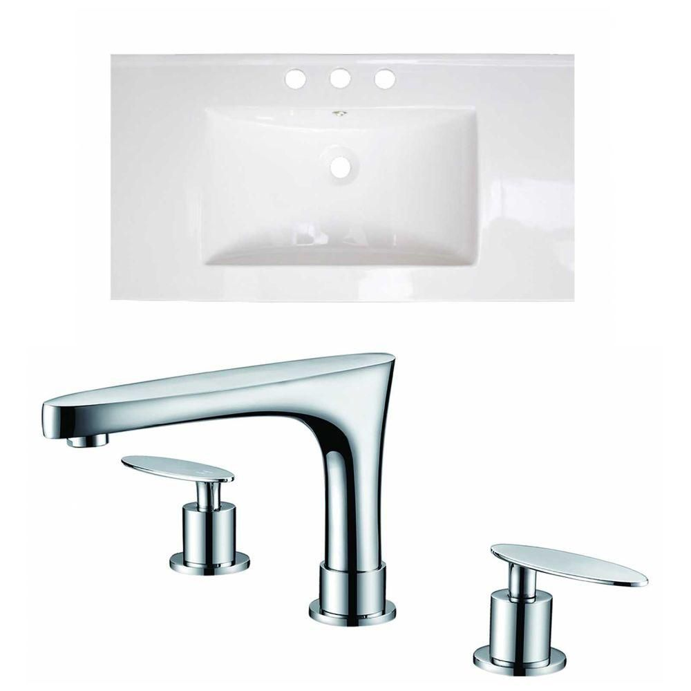 36-Inch W x 20-Inch D Ceramic Top Set In White Color With 8-Inch o.c. CUPC Faucet AI-15632 Canada Discount