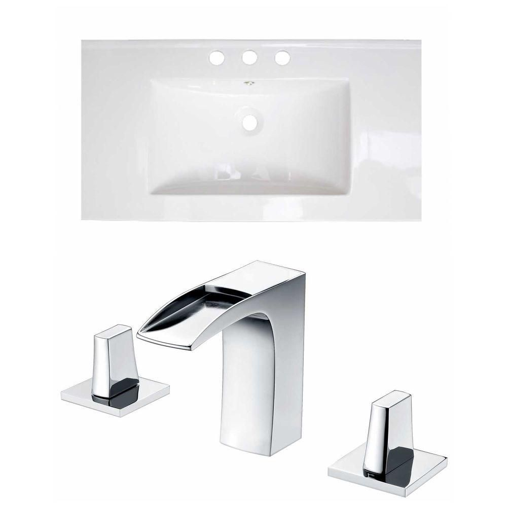 36-inch W x 20-inch D Ceramic Top Set with 8-inch O.C. Faucet in White