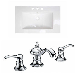 American Imaginations 32-inch W x 18-inch D Ceramic Top with 8-inch O.C. Faucet in White