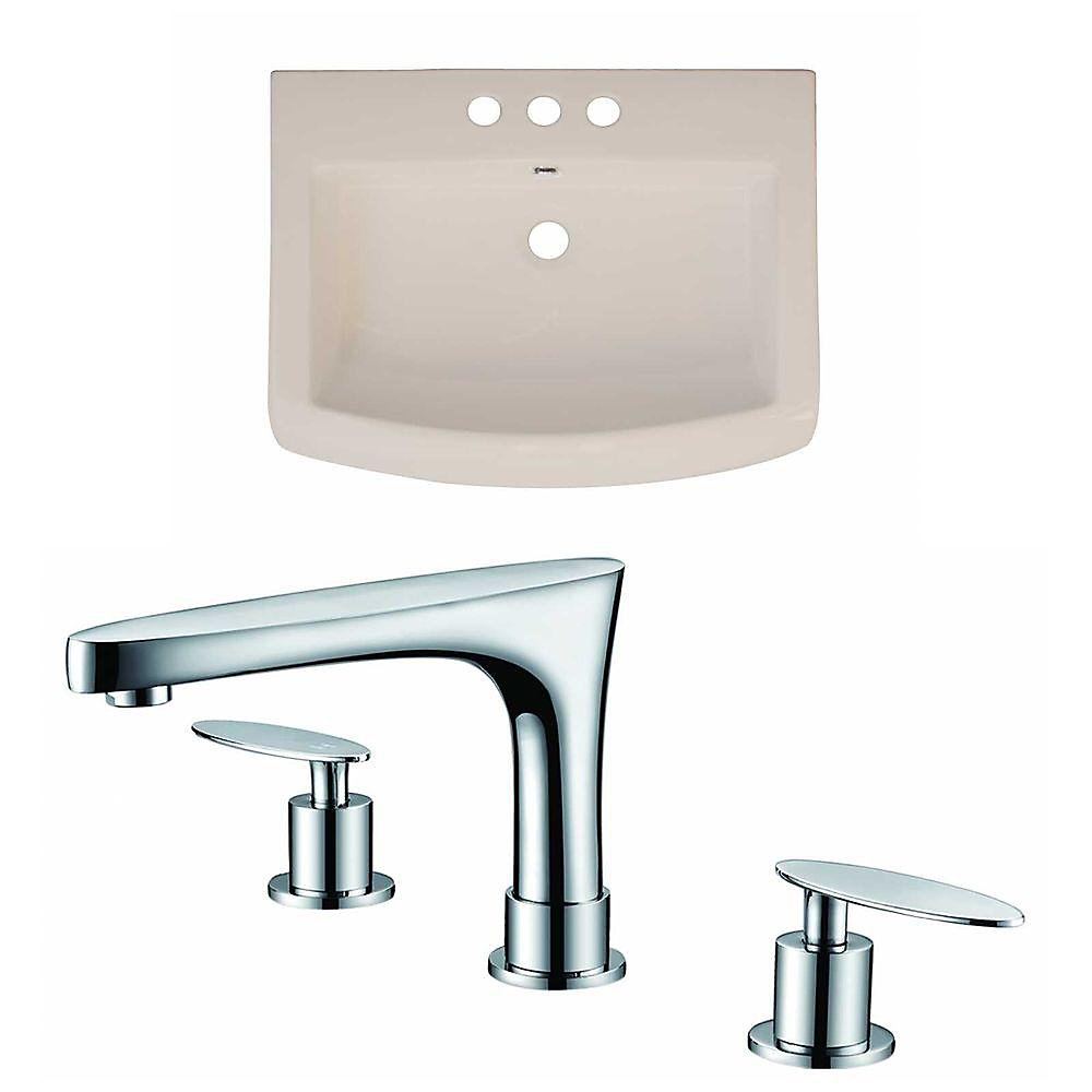 24-inch W x 18-inch D Ceramic Top Set with 8-inch O.C. Faucet in Biscuit
