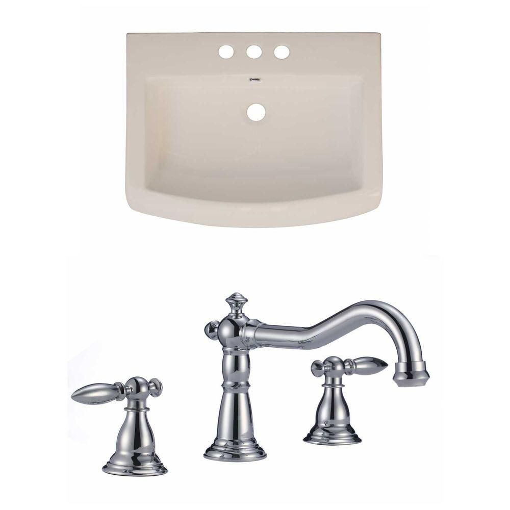 24-Inch W x 18-Inch D Ceramic Top Set In Biscuit Color With 8-Inch o.c. CUPC Faucet AI-15803 Canada Discount