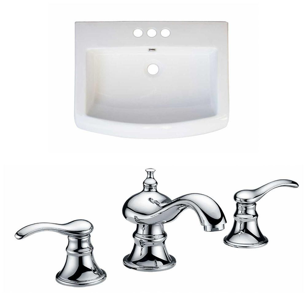24-Inch W x 18-Inch D Ceramic Top Set In White Color With 8-Inch o.c. CUPC Faucet AI-15806 in Canada