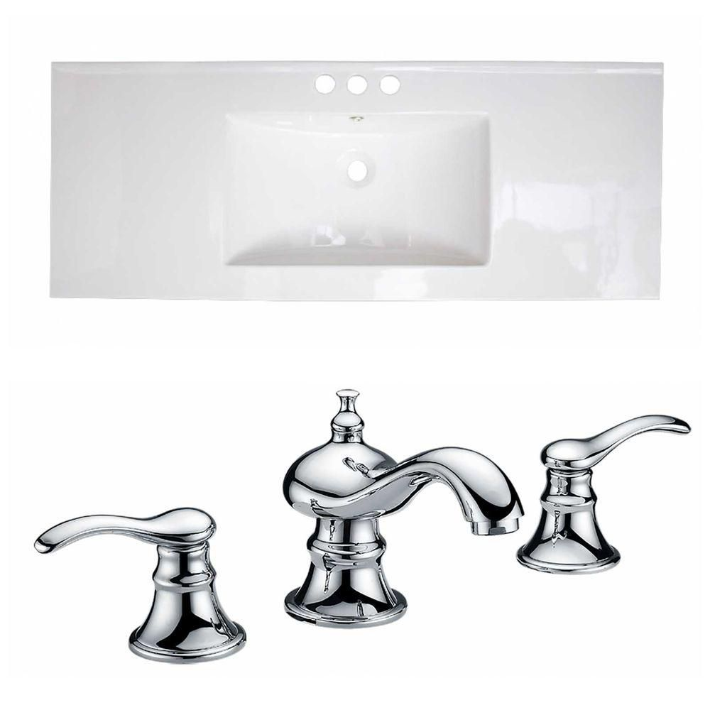 48-inch W x 18-inch D Ceramic Top Set with 8-inch O.C. Faucet in White