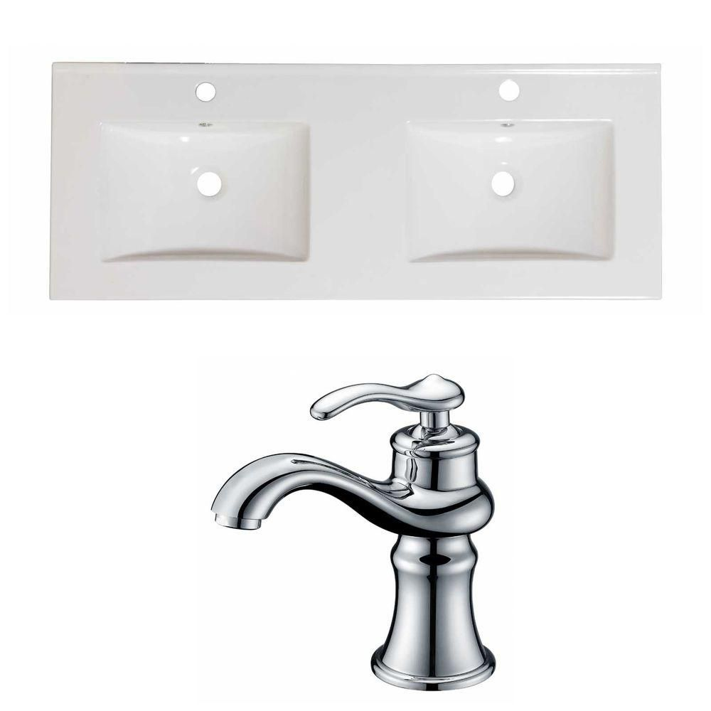 48-Inch W x 18-Inch D Ceramic Top Set In White Color With Single Hole CUPC Faucet AI-15841 in Canada
