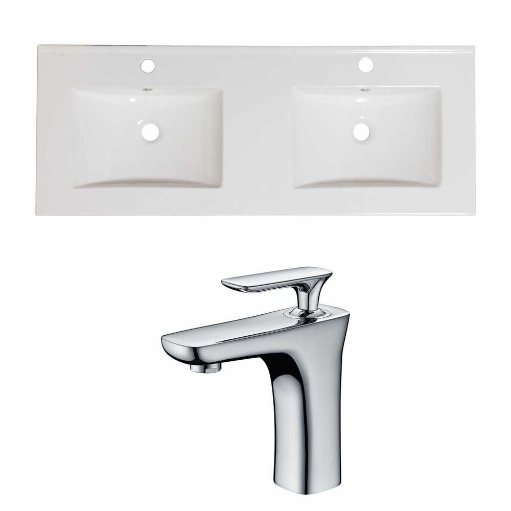 48-inch W x 18-inch D Ceramic Top Set with Single Hole Faucet in White