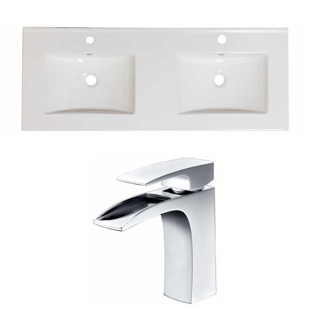 48-in. W x 18 po. D Céramique Top Set In White Couleur Avec Single Hole CUPC Robinet