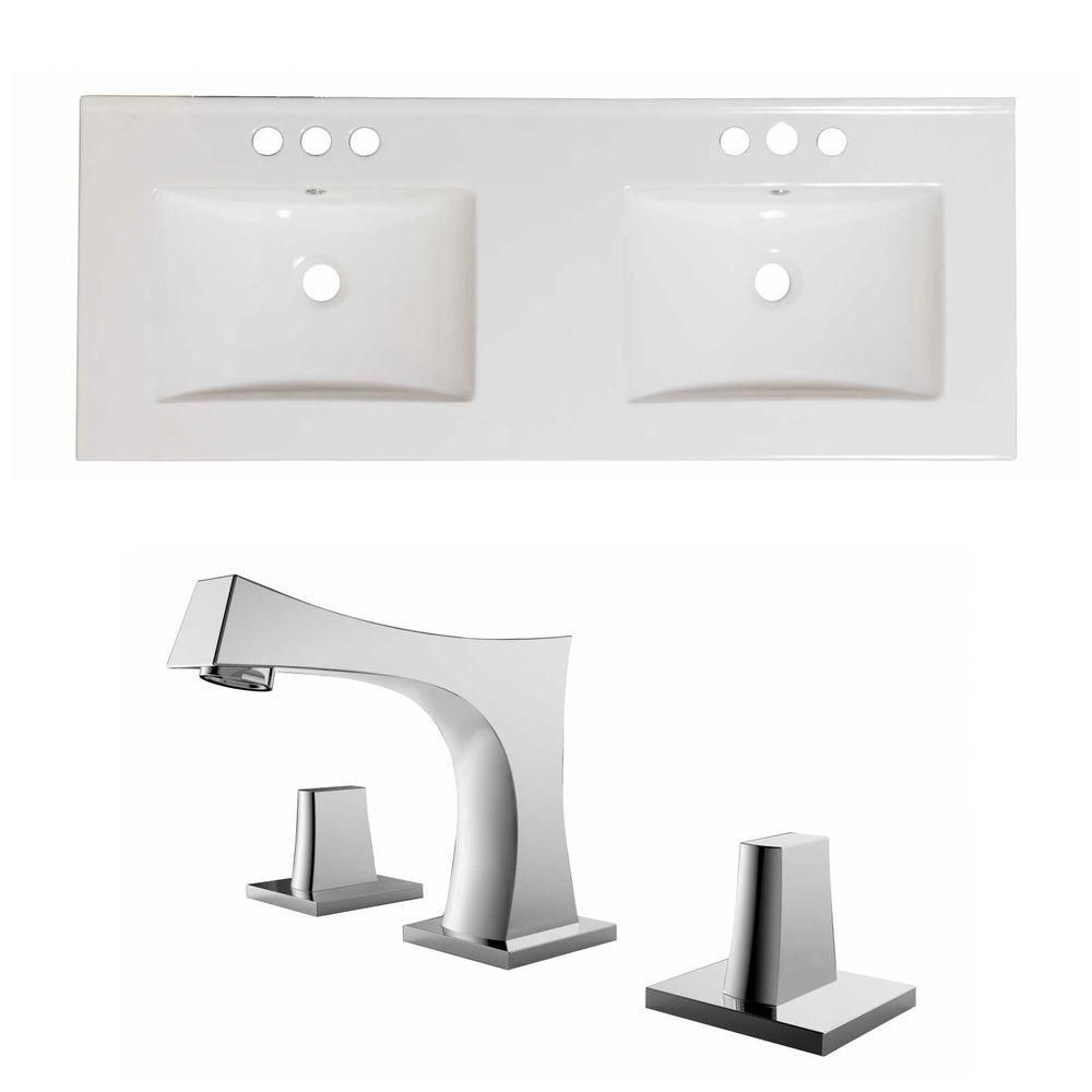 48-Inch W x 18-Inch D Ceramic Top Set In White Color With 8-Inch o.c. CUPC Faucet AI-15847 in Canada