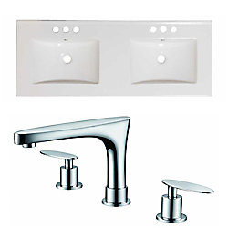 American Imaginations 48-inch W x 18-inch D Ceramic Top Set with 8-inch O.C. Faucet in White