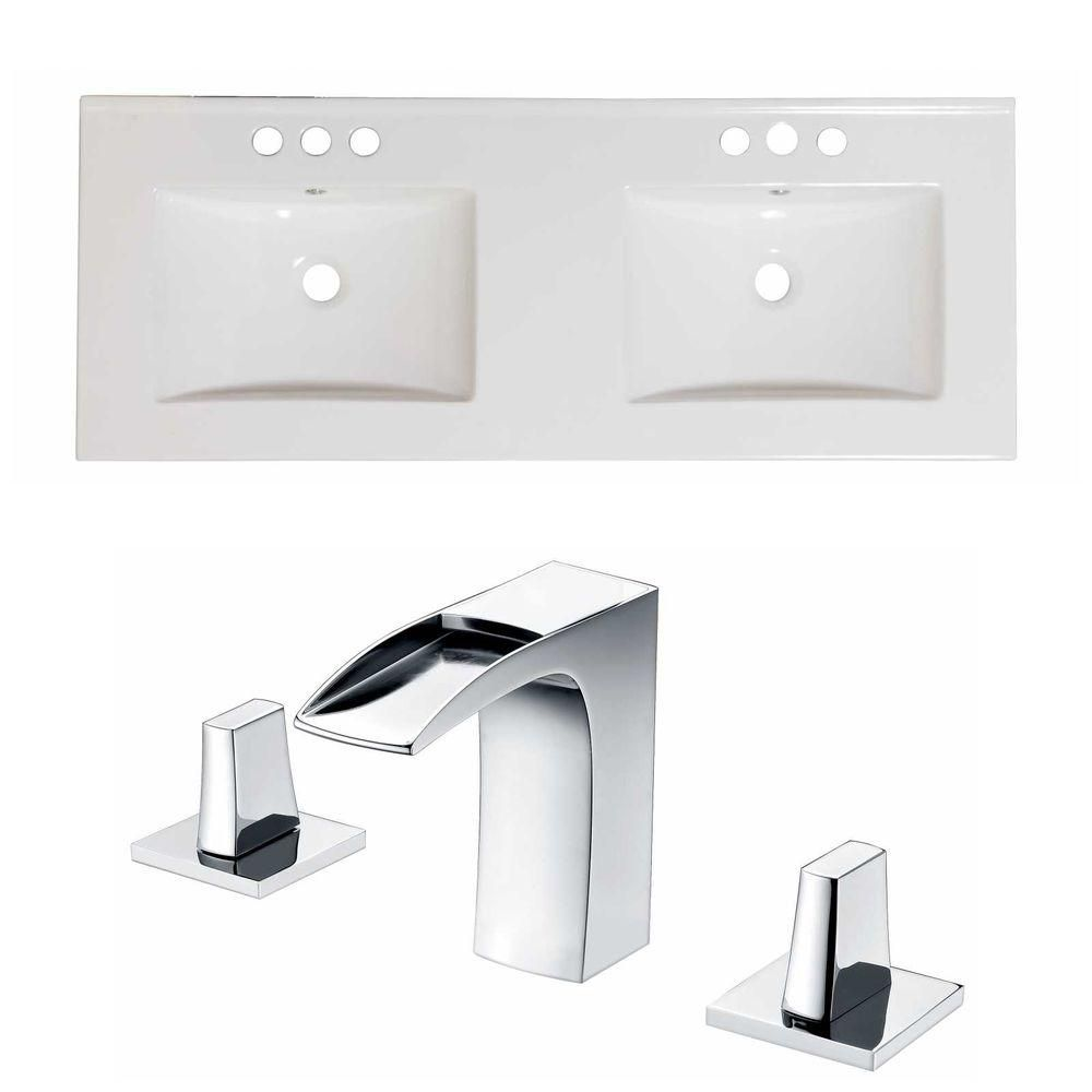 48-Inch W x 18-Inch D Ceramic Top Set In White Color With 8-Inch o.c. CUPC Faucet AI-15851 Canada Discount
