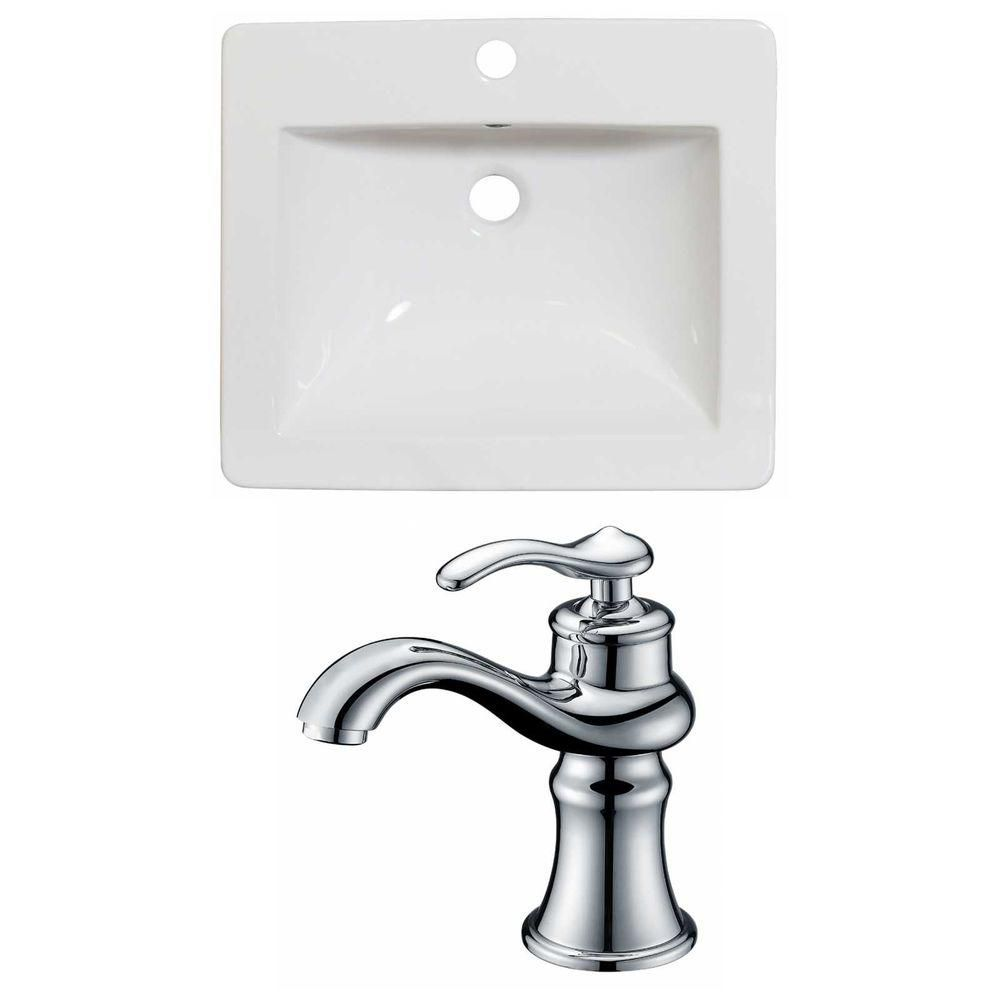 21-in. W x 18 po. D Céramique Top Set In White Couleur Avec Single Hole CUPC Robinet