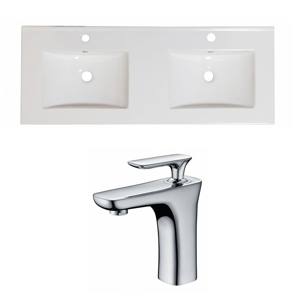 60-inch W x 18 1/2-inch D Ceramic Top Set with Single Hole Faucet in White