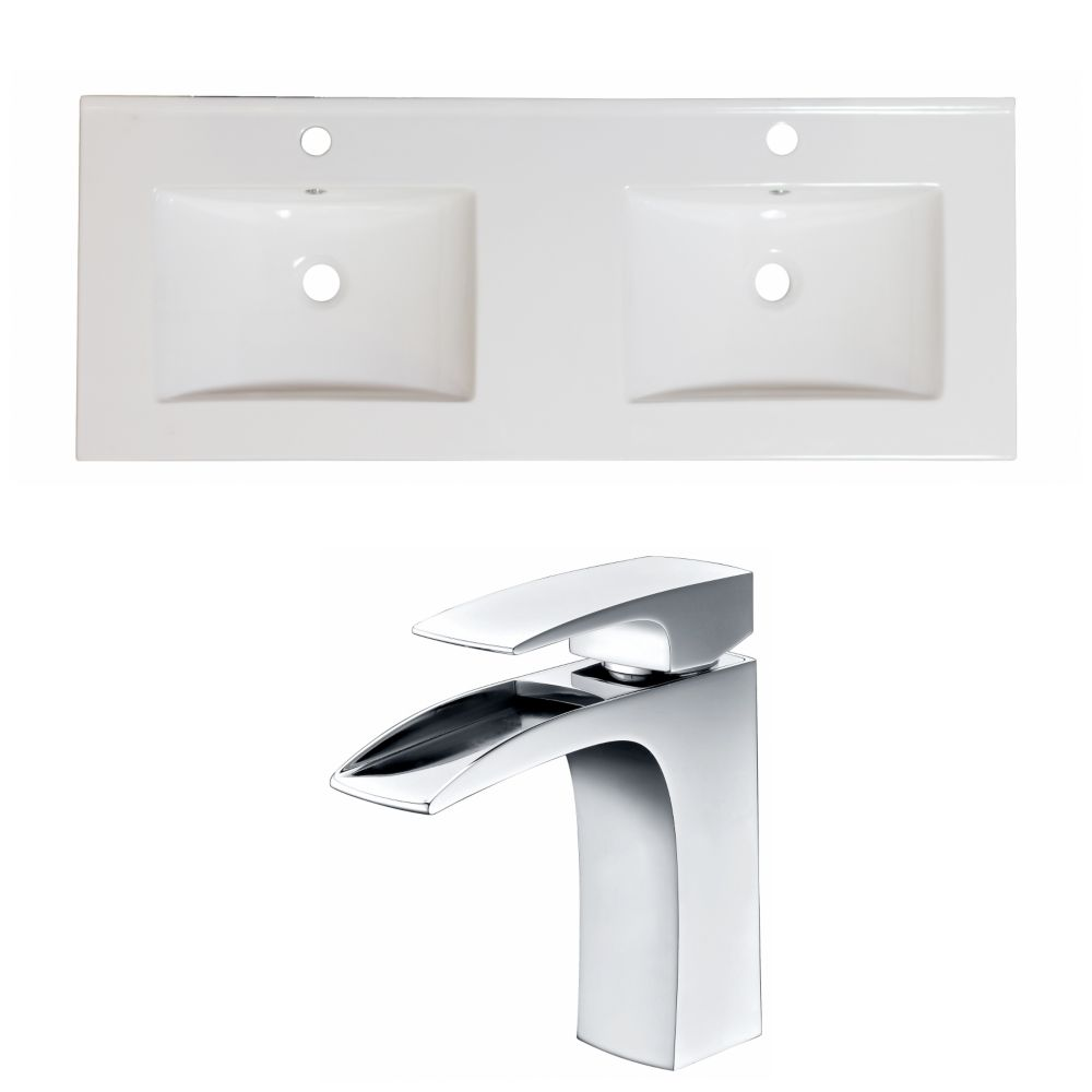 60-in. W x 18.5-in. D Céramique Top Set In White Couleur Avec Single Hole CUPC Robinet