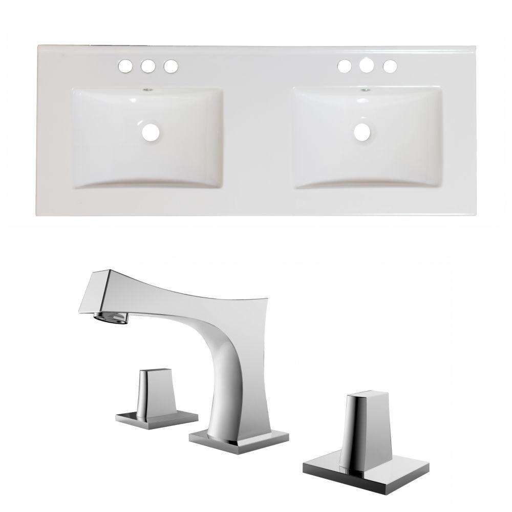60-in. W x 18.5-in. D Céramique Top Set In White Couleur Avec 8-in. O.C. Robinet CUPC