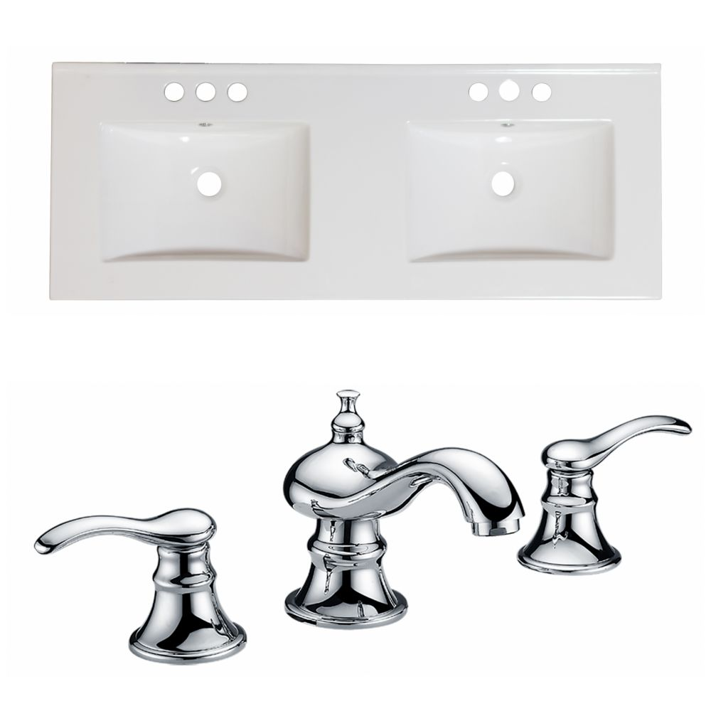 60-inch W x 18 1/2-inch D Ceramic Top Set with 8-inch O.C. Faucet in White
