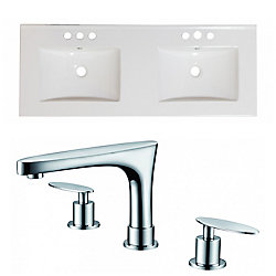 American Imaginations 60-inch W x 18 1/2-inch D Ceramic Top Set with 8-inch O.C. Faucet in White
