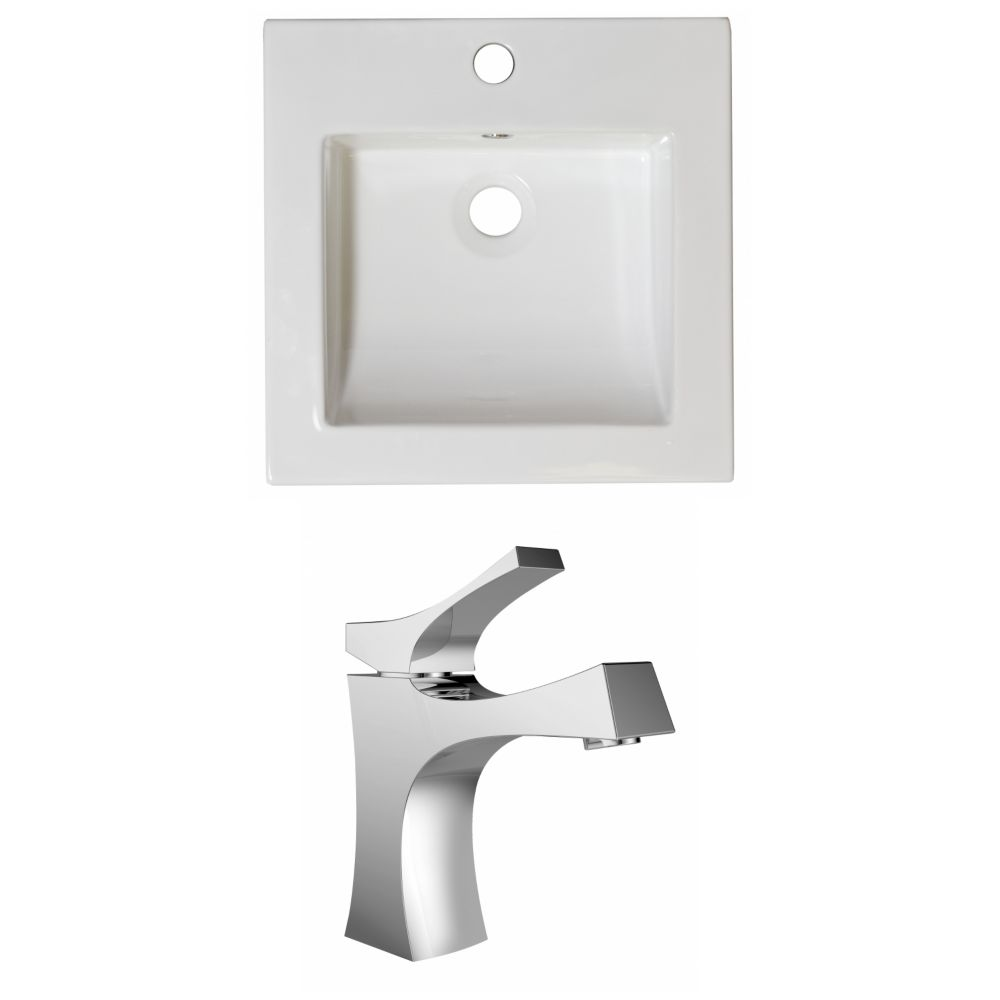 21.5-in. W x 18 po. D Céramique Top Set In White Couleur Avec Single Hole CUPC Robinet