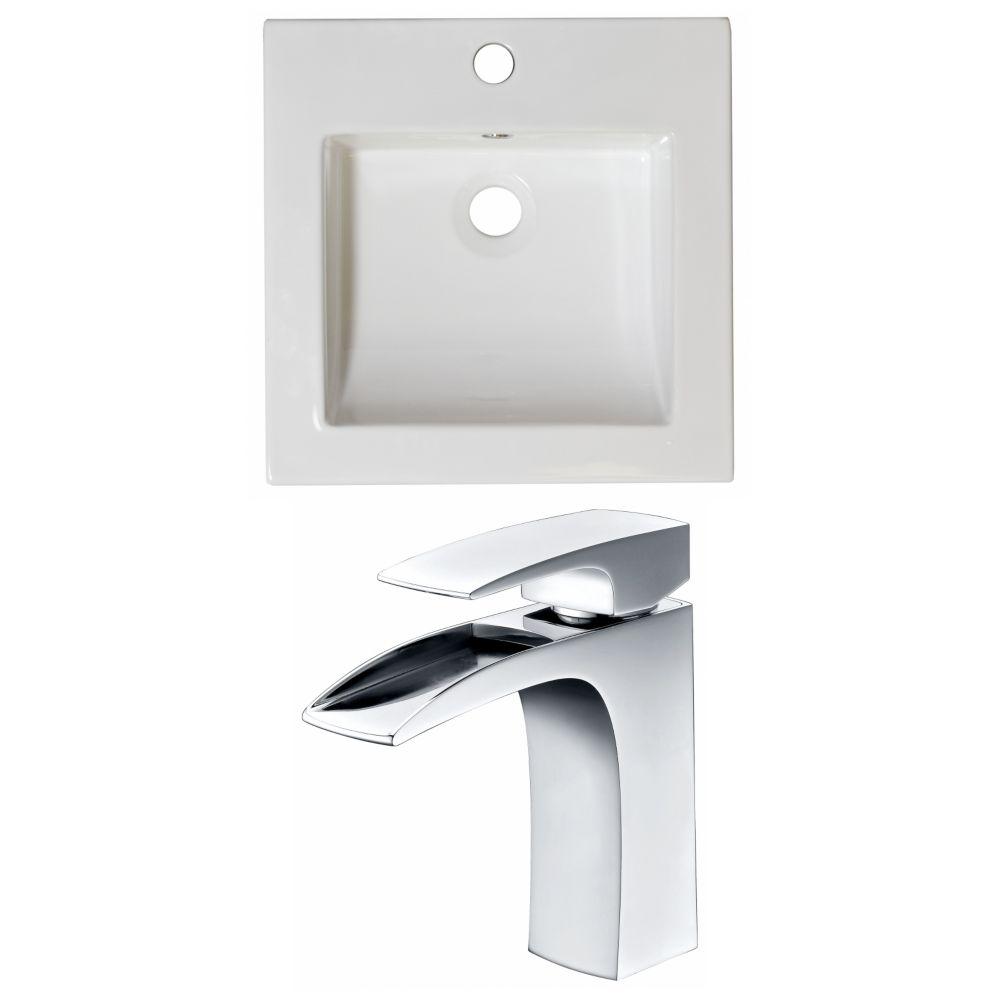 21.5-in. W x 18 po. D Céramique Top Set In White Couleur Avec Single Hole CUPC Robinet