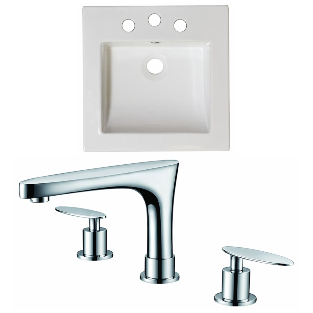 21 1/2-inch W x 18-inch D Ceramic Top Set with 8-inch O.C. Faucet in White