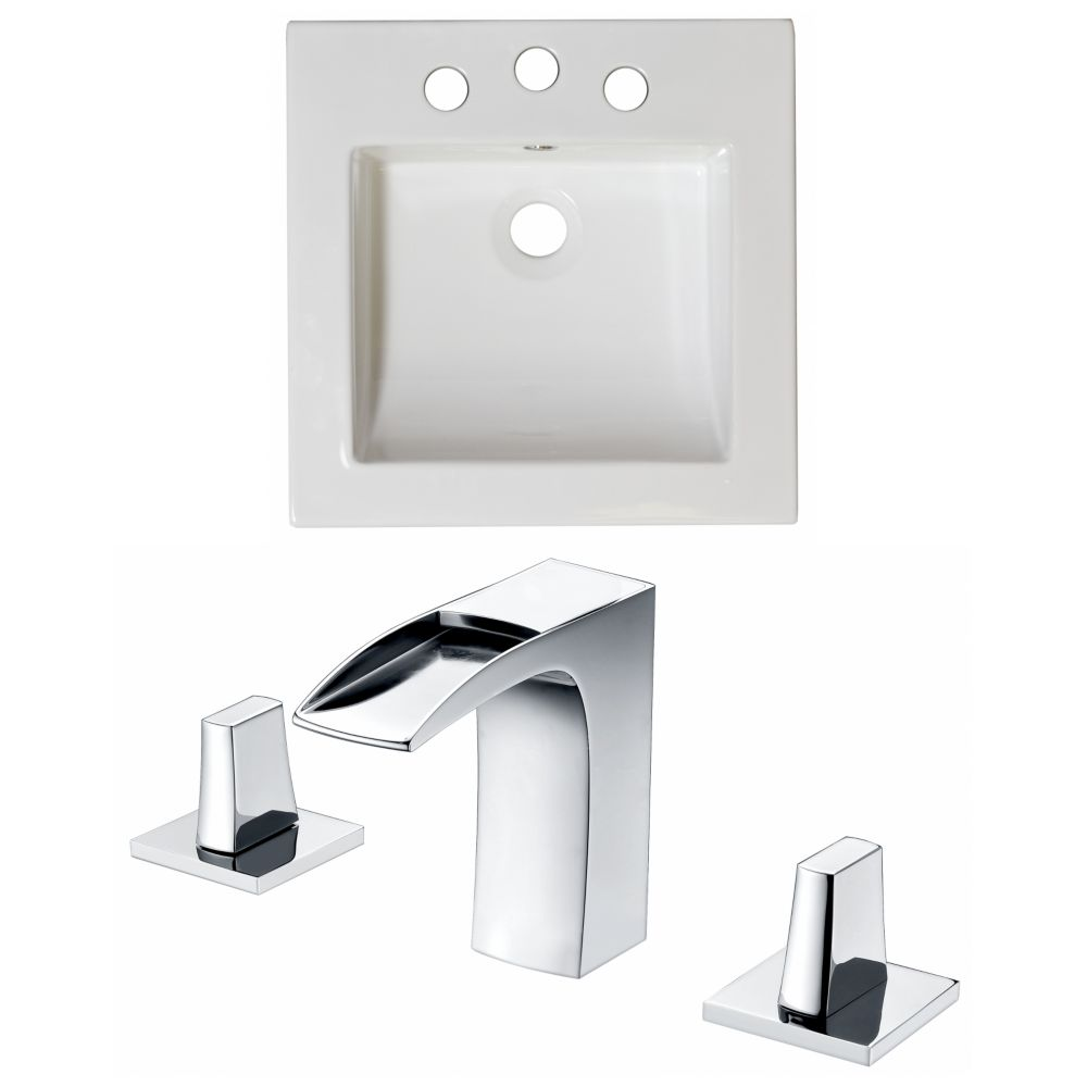 American Imaginations 21 1/2-inch W x 18-inch D Ceramic Top Set with 8-inch O.C. Faucet in White