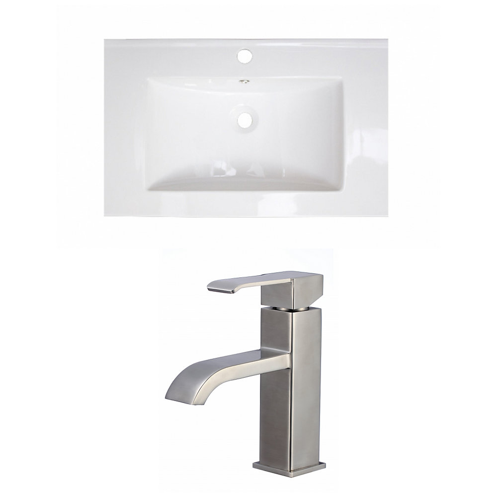 21-inch W x 18-inch D Ceramic Top Set with Single Hole Faucet in White