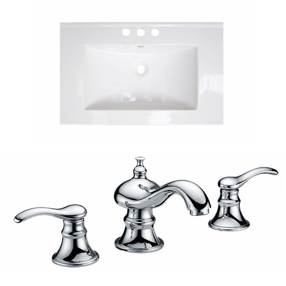 30-inch W x 18-inch D Ceramic Vessel Sink in White with Faucet
