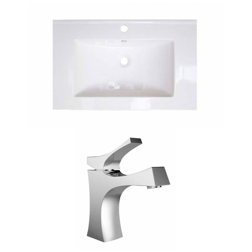 30-in. W x 18 po. D Céramique Top Set In White Couleur Avec Single Hole CUPC Robinet