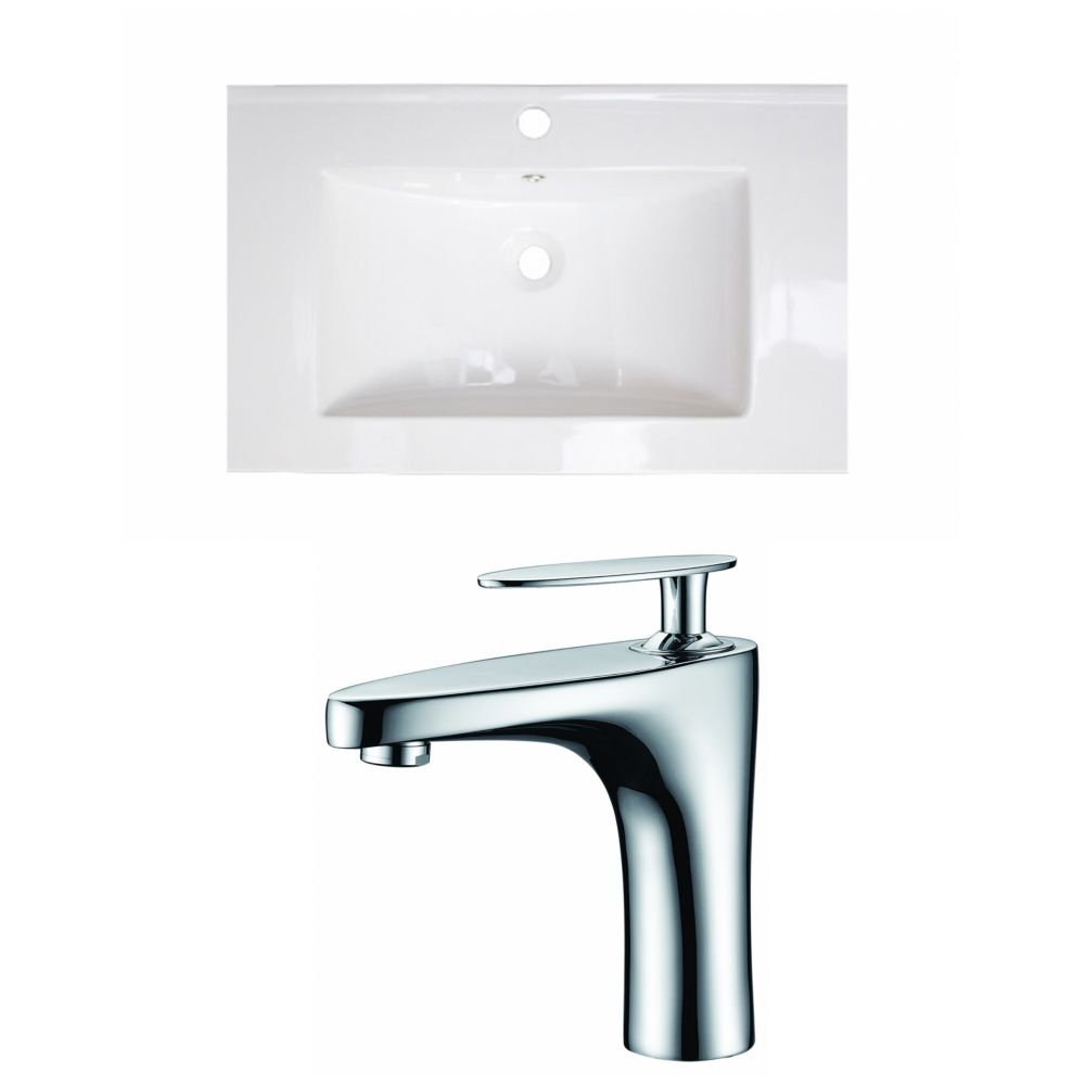 30-inch W x 18-inch D Ceramic Top with Single Hole Faucet in White