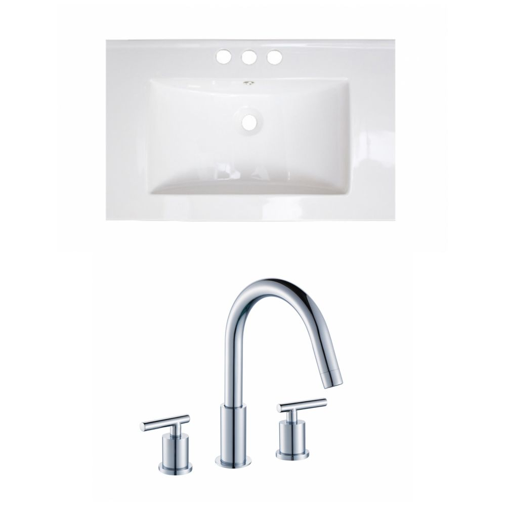 21-Inch W x 18-Inch D Ceramic Top Set In White Color With 8-Inch o.c. CUPC Faucet AI-15972 Canada Discount
