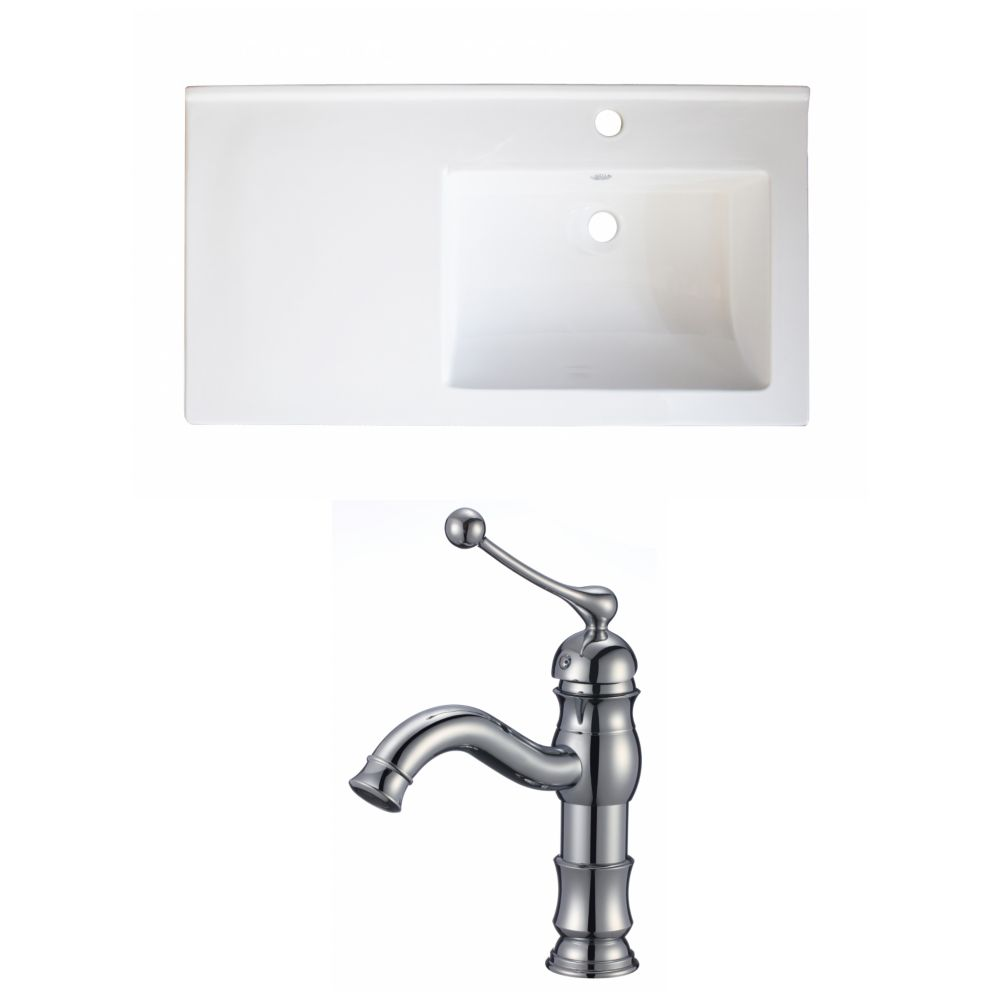 34-Inch W x 18-Inch D Ceramic Top Set In White Color With Single Hole CUPC Faucet AI-15979 Canada Discount
