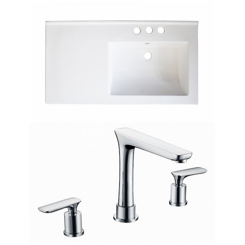 34-inch W x 18-inch D Ceramic Top with 8-inch O.C. Faucet in White