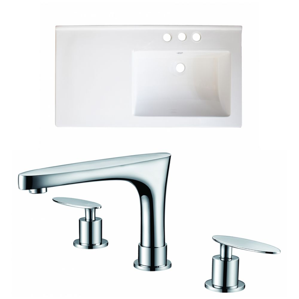 34-Inch W x 18-Inch D Ceramic Top Set In White Color With 8-Inch o.c. CUPC Faucet AI-15996 Canada Discount