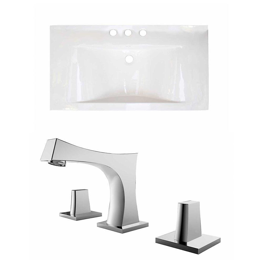 36-inch W x 19-inch D Ceramic Top Set with 8-inch O.C. Faucet in White