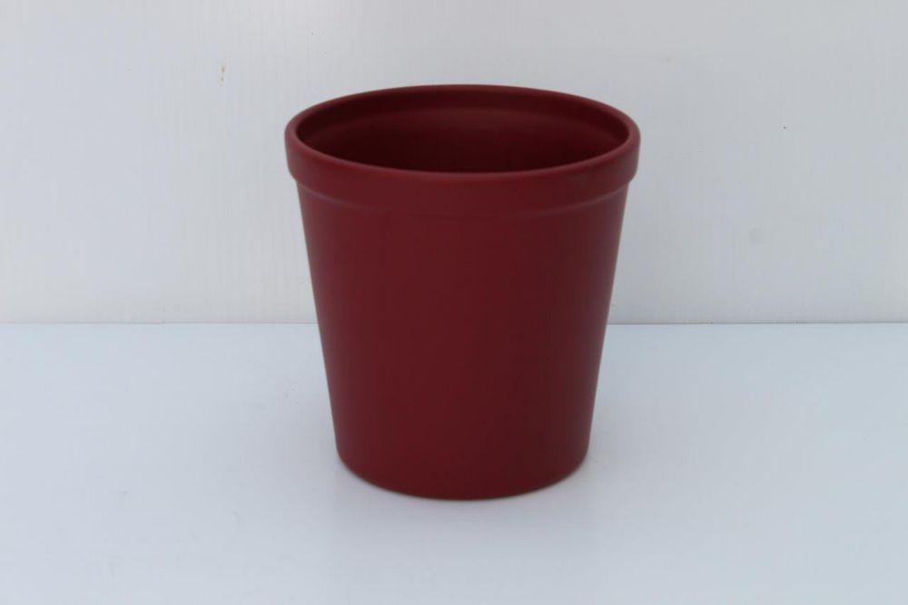 Ceramic Pot Red Matte 6in