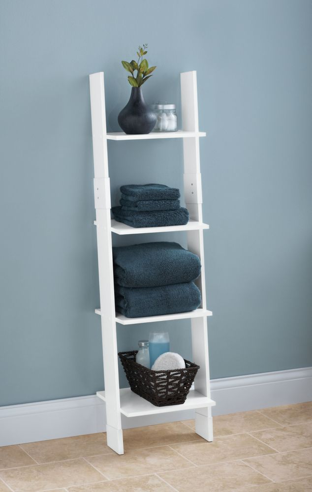 Ladder Style Linen Tower - White