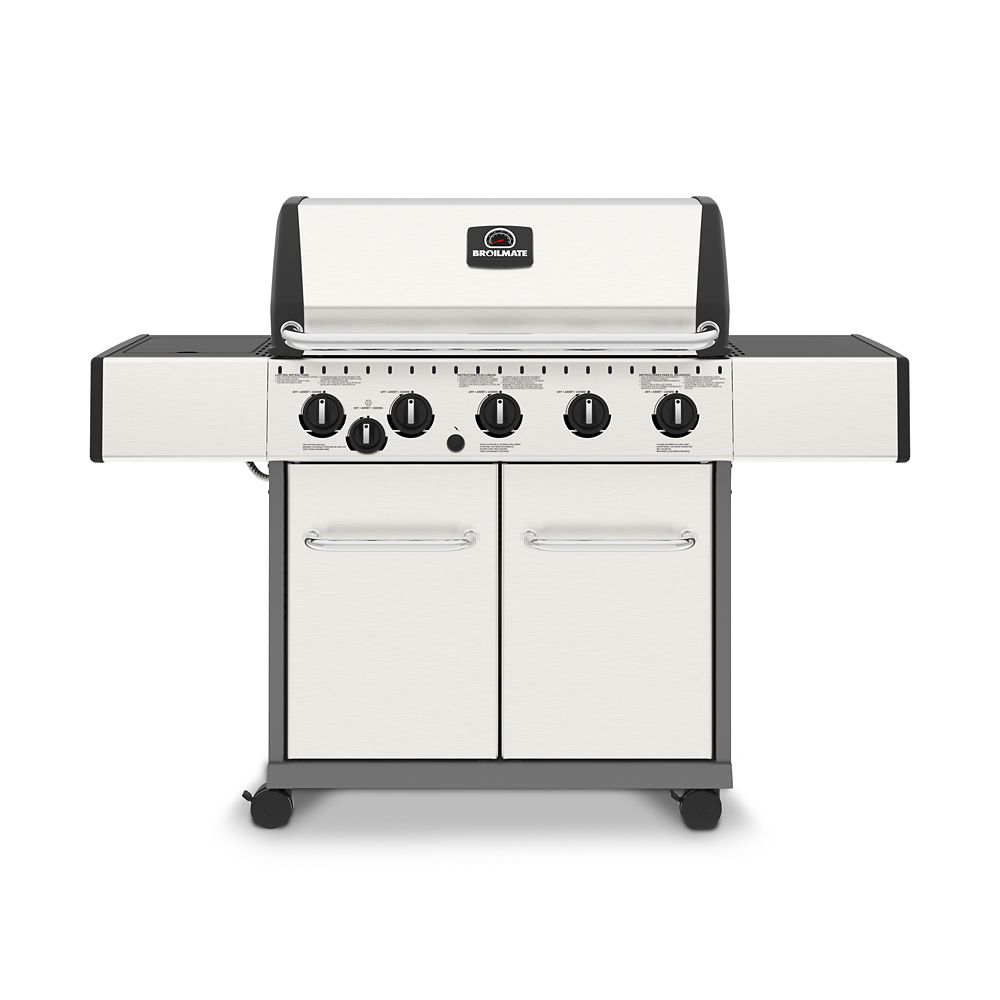 Stainless Steel 5 Burner Propane Gas Grill With Side Burner