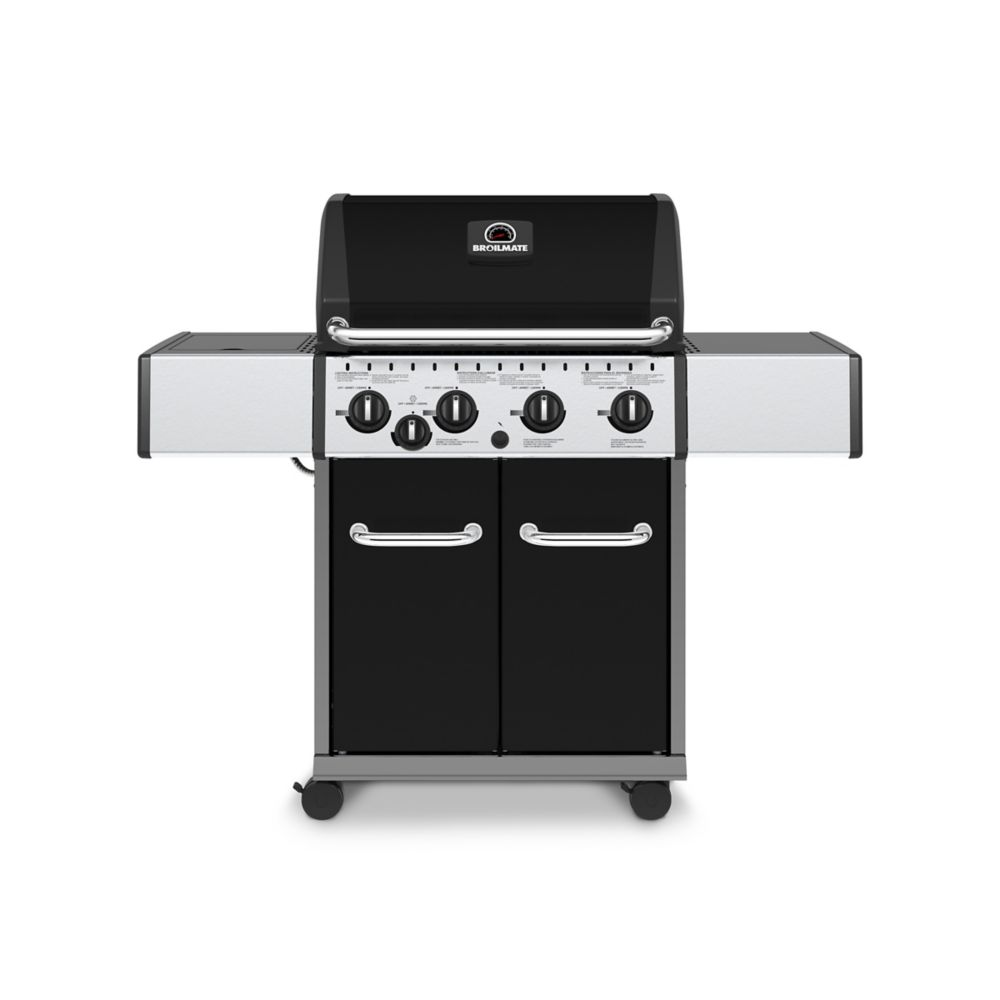 Black 4 Burner Natural Gas Grill With Side Burner