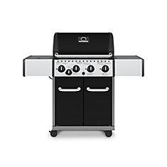 Barbecue au gaz naturel à 4 brûleurs avec brûleur latéral, noir