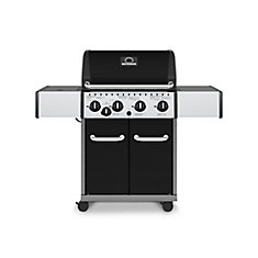 Barbecue au gaz propane Noir  à 4 brûleurs avec brûleur latéral