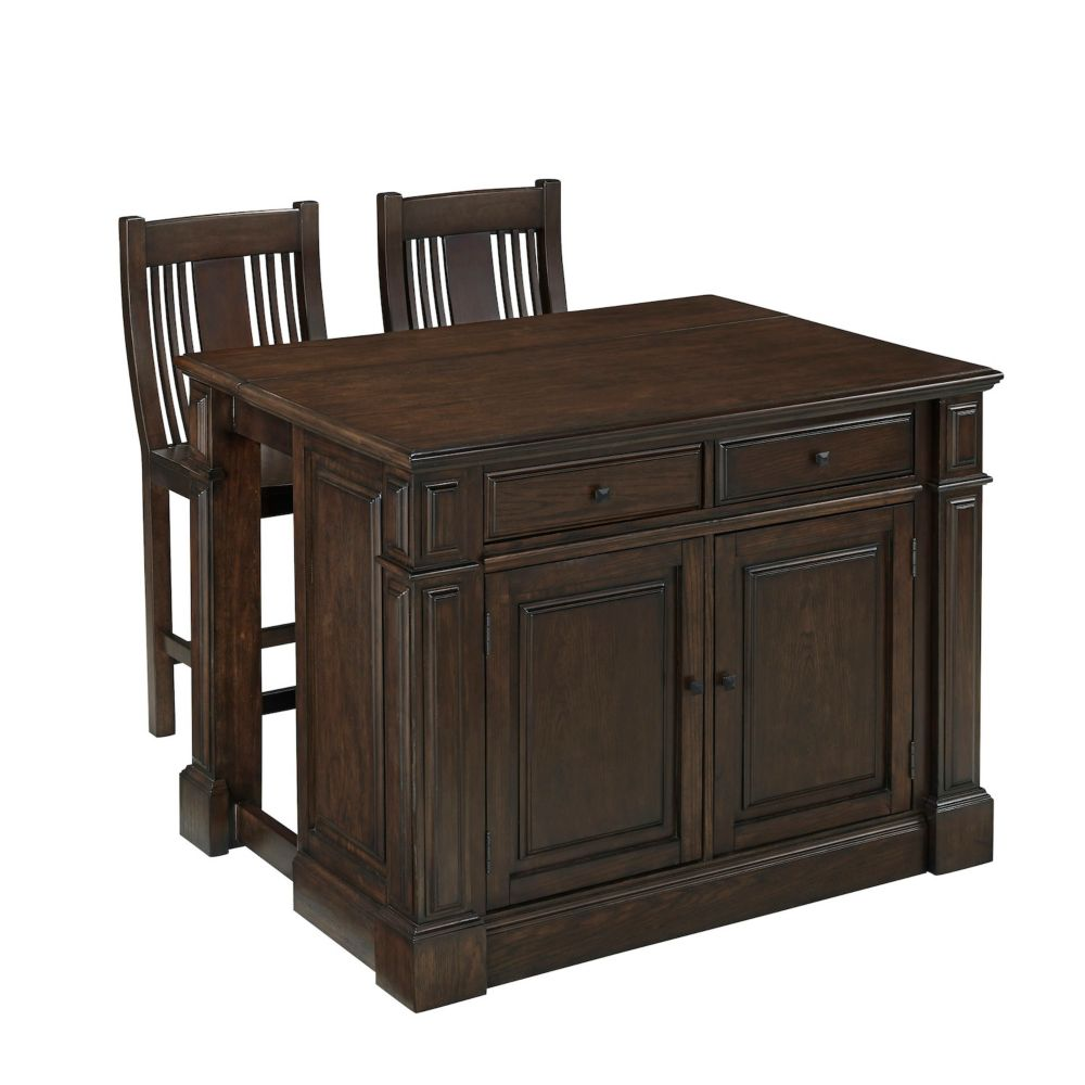 Prairie Home Kitchen Island and Two Stools