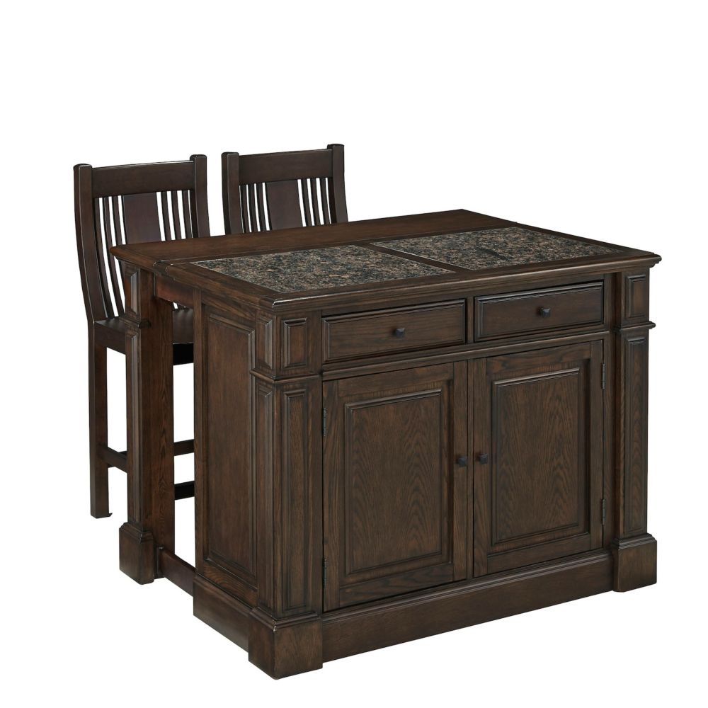 Prairie Home Kitchen Island w/ Granite Top and Two Stools