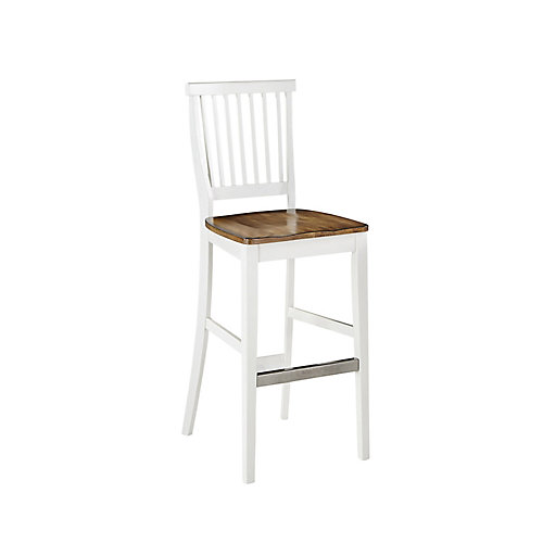 Americana Solid Wood White Traditional Full Back Armless Bar Stool with Oak Solid Wood Seat