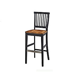 Home Styles Americana Solid Wood Black Traditional Full Back Armless Bar Stool with Oak Solid Wood Seat